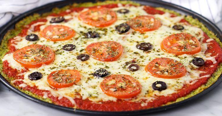 Massa de pizza de brócolis