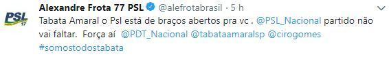 Twite Alexandre Frota do PSL para Tabata Amaral